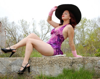 Vintage purple swimsuit, pink skirted halter swim dress, one-piece look, 1960s M L