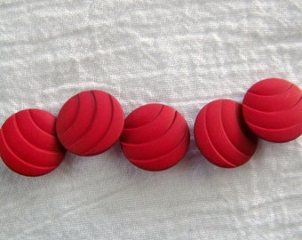 5 Red Buttons,25 mm,Lapping Tide of Curved Ridges, Matte Finish,Self Shank, Dill Brand Buttons, Textured Plastic, Scarlet Ripples Design