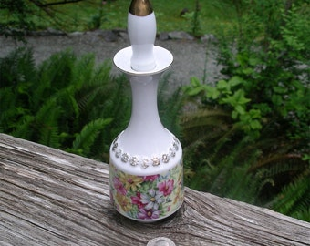 Vintage Tilso Vanity Bottle - Porcelain Perfume Container - Mid Century Gold Trim Scent Holder - Ladies Dressing Table Collectible