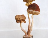 Textile art mushrooms on a stump hanging forest natural autumn home decor woodland OOAK fungus