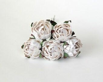 25 pcs - White Ranunculus / White peonies / wholesale pack