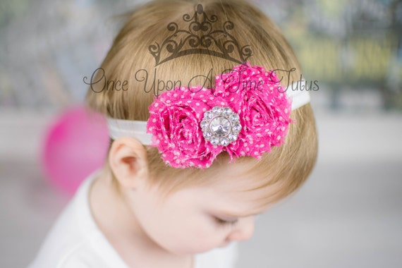 Hot Pink Polka Dot Shabby Flower Rosette Headband - Photo Prop - Newborn Baby Little Girl Hair Bow - Pink and White Polkadot Accessories