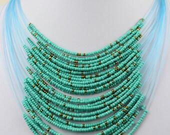 Turquoise Necklace with Masai Beads. Funky, Bright, Playful Choker. Maasai Beads. Handmade. MapenziGems