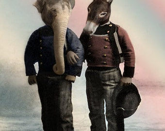 Frank and Styne, Political Art, Anthropomorphic,  Political Party, Republican Art, Democrat Art, Whimsical Art, Photo Collage - GIft idea