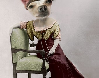 Heddy, Chihuahua Dog Print, Anthropomorphic, Whimsical Dog Art, Dog Photo Collage, Chihuahua Artwork, Digital Dog Art, Gift for a dog lover