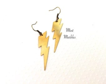 Natural Brass Lightning Bolt Earrings. Dangle Drop Earrings. Gold. Weather. Electric. Bolt. Under 15 Gifts. Unique.