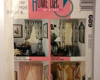McCalls 90s Home Decor 689 Uncut Sewing Pattern Window Curtains, Drapes, Panels and Tie Backs