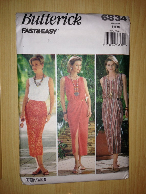 Vintage 90s Butterick 6834 Sewing Pattern Misses and Miss Petite Top and Skirt Uncut Size 6-10