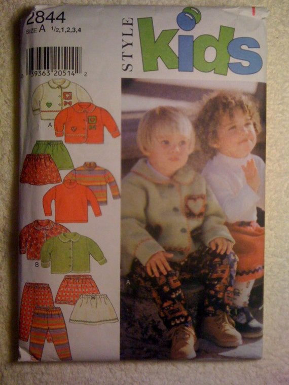 Style Kids 2844 Sewing Pattern Childrens Jacket, Top, Skirt and Pants Size 1/2-4 90s