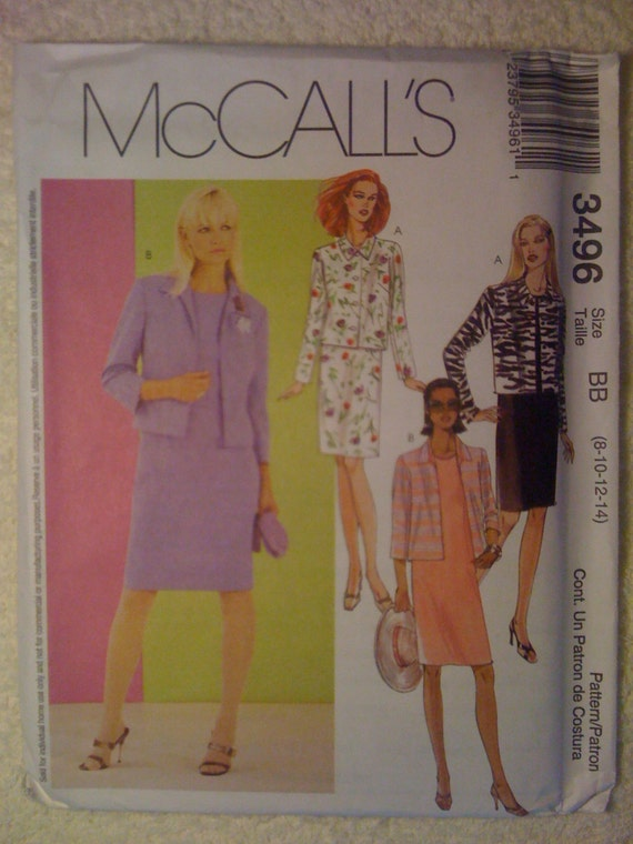 Misses and Misses Petite Dress and Lined Jacket McCalls Sewing Pattern 3227 Size 8, 10, 12, 14 Uncut