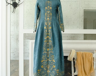 Antique Silk Damask Hand Made & Embroidered Teal Blue Evening Gown - 18th Century