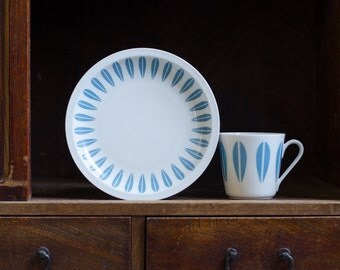Vintage  Blue Lotus Lyngby Cathrineholm Cup and Dessert Plate - Mid Century