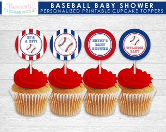Baseball Theme Baby Shower Cupcake Toppers | Blue & Red | Personalized | Printable DIY Digital File