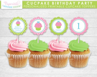 Cupcake Theme Birthday Party Cupcake Toppers | Green & Pink | Personalized | Printable DIY Digital File
