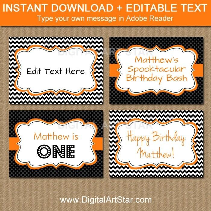 printable halloween labels editable halloween buffet cards. Black Bedroom Furniture Sets. Home Design Ideas