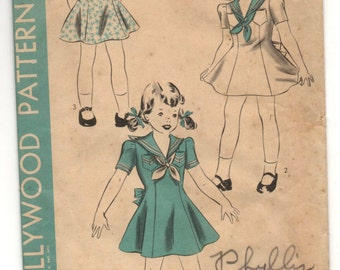 1940's hollywood Girl's Dress with Sailor collar - Size 4 years - UC/FF - No. 894