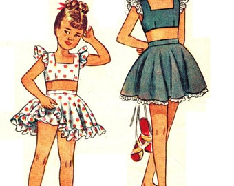 Simplicity 2454 Fab Vintage 40s Child's Play Suit and Panties Sewing Pattern Size 4 or Size 6