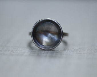 Large Silver Disc Ring, Minimalist Ring