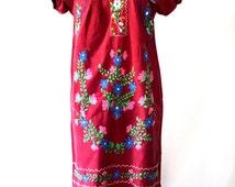 Bohemian Mexican Southwestern Oaxaca Floral South of the Border Dress Burgundy