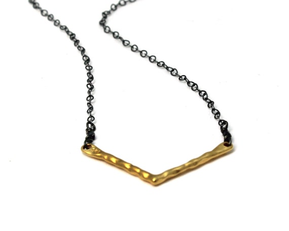 Chevron Necklace. Mixed Metals. Modern Minimal V Necklace.  Gold, Silver, Black Silver, You Can Choose. NM-2028-2