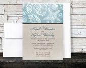 Rustic Beach Linen Reception Only Invitations and RSVP cards - Seashell Blue Brown Beige - Printed Invitations