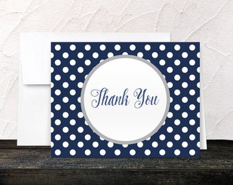 Navy Thank You Cards - Gray Navy Blue Polka Dot - Winter Navy Blue Polka Dot Thank You Cards - Printed