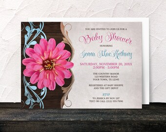 Country Pink Zinnia Baby Shower Invitations