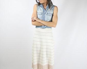 Vintage knit skirt, White Bronze striped midi skirt, XS-S 3577