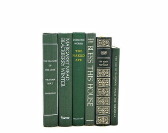 Fern Green Books, Decorative Books, Old Book Set, Instant Library, Antique Book Collection, Book, Weddings, Book Decor, Interior Design