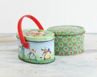 Vintage miniature trinket / toy tins (set of 2)