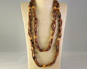 Wood Bead Necklace, 3 Strand, Boho, Hippie, Tribal Necklace