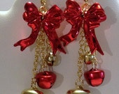 Jewelry, Earrings, Bell Earrings, Christmas, Red Bells, Gold Bells, Chain. Wire Wrapped Jewelry by IntricateWireDesigns on Etsy.