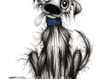 Zippy dog Print download Ultra cute and adorable little pet puppy doggie pooch with his special tasty treat Drawn sketched animal image
