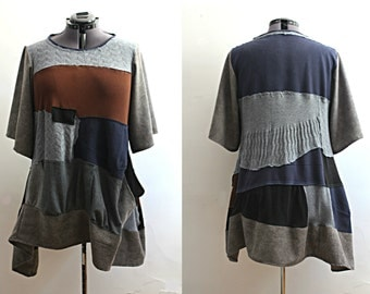 Upcycled Clothing Bohemian Tunic Top Distressed Deconstructed Grey Brown Navy Blue Wool Fall Winter Dress Recycled Clothing 1x Plus Size