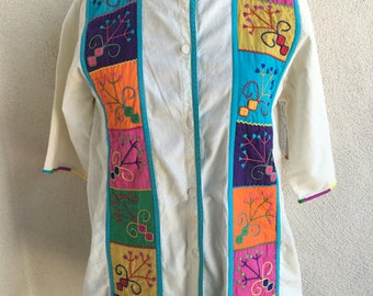 Vintage Mexican top shirt ivory cotton embroidery panels button front Irene Pulos sz M