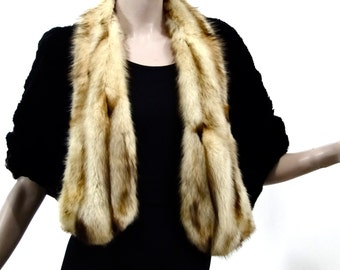 Vintage Elegant 1930s Fur Caplet Short Black Cape Fox Collar Historic Womens Fashions