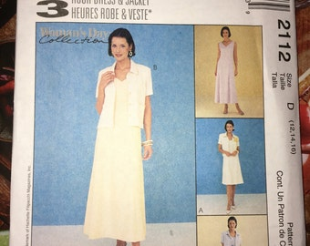 Uncut McCalls sewing pattern #2112 for Modest Busines/Church Blazer & Dress - Size 12 14 16 Bust 34 36 38 YMA47R