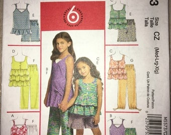 CLEARANCE Uncut Perfect Spring/Summer Sewing Pattern MCCALL'S M5573 Size 7-16 - Child Sleeveless Top, Capri Pants, Shorts (2008)