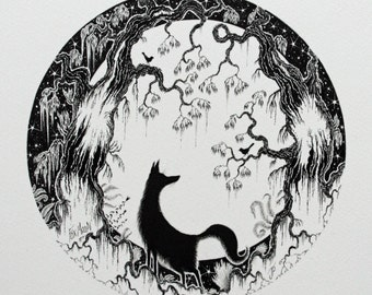 Fox Original Illustration and fox and moon silhouette drawing and pen and ink fox and black and white fox drawing and fox and moon