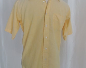 70s Vintage mens button down shirt, short sleeve, bright yellow Halle Bros