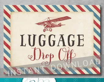 Luggage Drop Off Sign - 5x7 inches - Vintage Airplane Baby Shower - Birthday - Gift Table Sign - Digital - Printable - INSTANT DOWNLOAD
