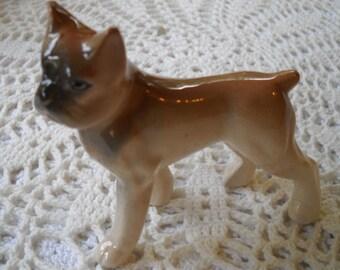 Vintage Boxer Dog Figurine, Bone China Dog, Dog Statue made in Japan, Dog Lover, Miniature Boxer