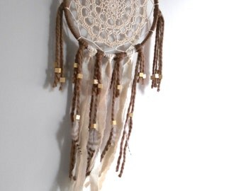 Boho dreamcatcher, tribal dreamcatcher, beige dreamcatcher, doily dreamcatcher, crochet dreamcatcher, bohemian home, wall hanging