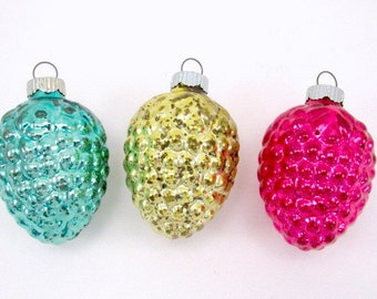 Vintage Shiny Brite Mercury Glass Grape Cluster Christmas Holiday Ornaments