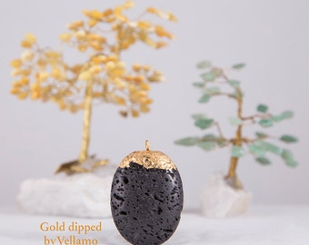 Gold dipped large black lava stone layering necklace, black talisman stone handmade with gold leaf bohemian jewelry, golden stone pendant