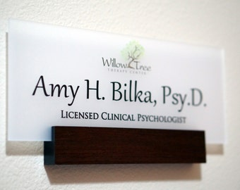 Office Wall Name Plate Personalized Wood Door Sign