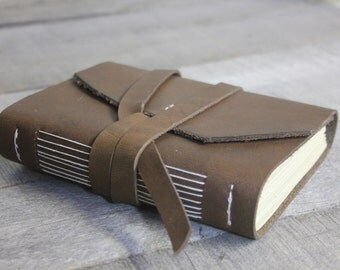 Handmade Leather Journal with Leather Strap Closure, Classic