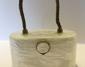Vintage Wilardy White Translucent Lucite Box Purse