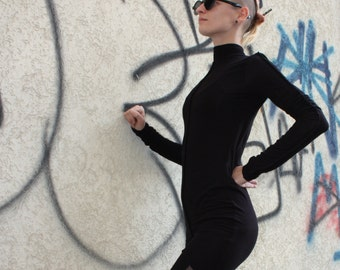 Black Tuinic,  Long Sleeve ,Sheer Tunic, Ninja style , Fall Fashion, Black Dress