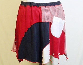 Red, White & Blue Patchwork Skirt - Upcycled Jersey Skirt - Fits Sizes M - XL